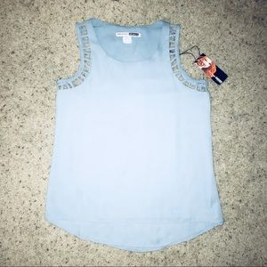 Necessary objects light blue sleeveless Blouse